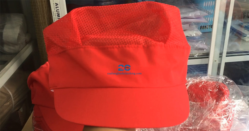 Nón Vải Công Nhân Phối Lưới Màu Đỏ Đẹp Giá Rẻ #2704